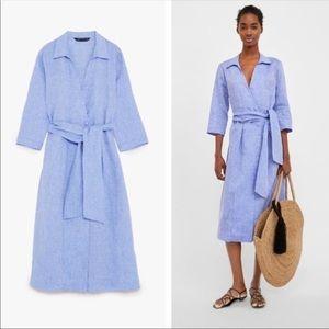 Zara Woman 100% Linen Midi Wrap Dress
